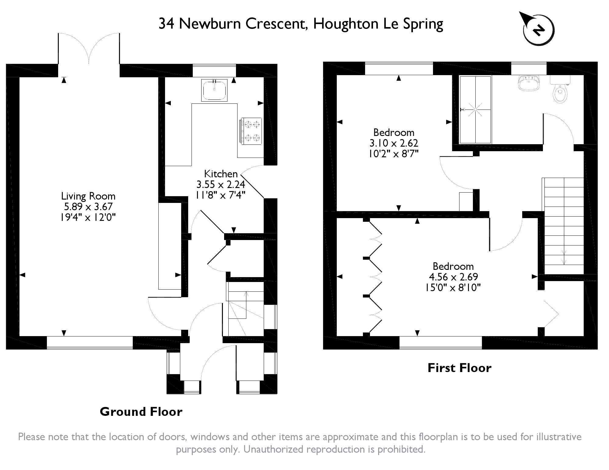 Newburn Crescent, Houghton Le Spring, Tyne & Wear, DH4 floor plan