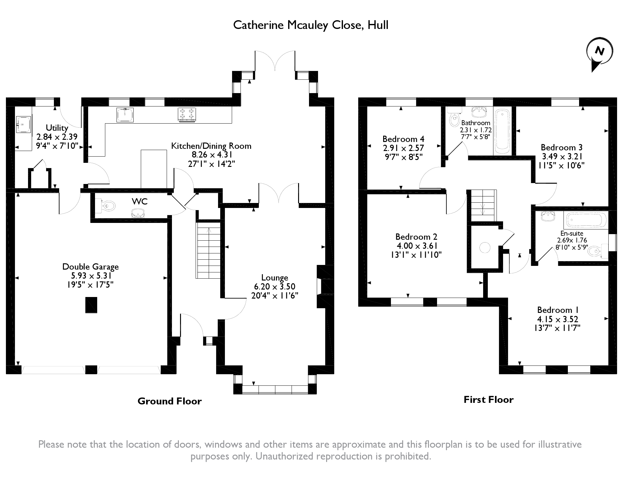 Catherine Mcauley Close, Hull, HU6 floor plan