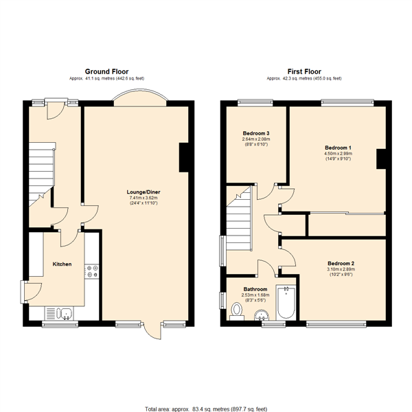 Pine Close, East Leake floor plan